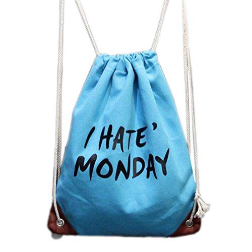 Kordelzug Cinch Tasche (Laat Beutel Zugschnur, Leinwand Falz Nachhaltige Sack Cinch Große Kapazität Umhängetasche Lässige Tasche von voyage|yoga mit Innentasche für Student, himmelblau)