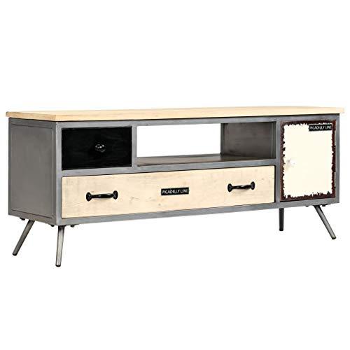 Festnight Meuble TV en Bois Massif Meuble de télévision de Salon 120 x 30 x 45 cm avec 2 tiroirs