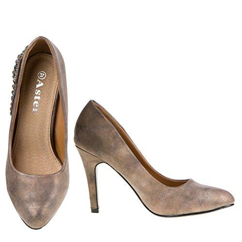 yjg-4009Scarpe Corte Donna Brown - Bronze Braun