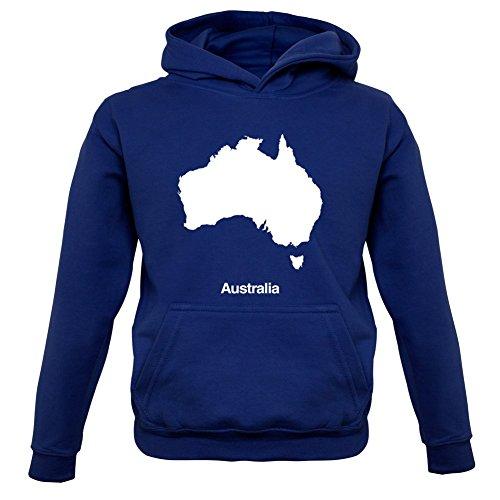 Australia / Australien Silhouette - Kinder Hoodie/Kapuzenpullover - Navy - L (7-8 Jahre) (Australien Hoodie)