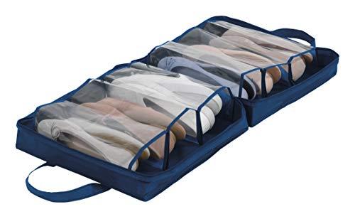 Wenko Schuhtasche Business Premium - Schuhbeutel, Schuhtasche mit 6 Fächern, 37 x 37 x 15,5 cm, dunkelblau