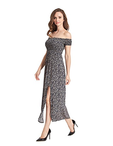 Sommerkleider Damen Lang Strand Abendkleid Schulterfrei Maxikleid Elegant Sexy Blumendruck Blau