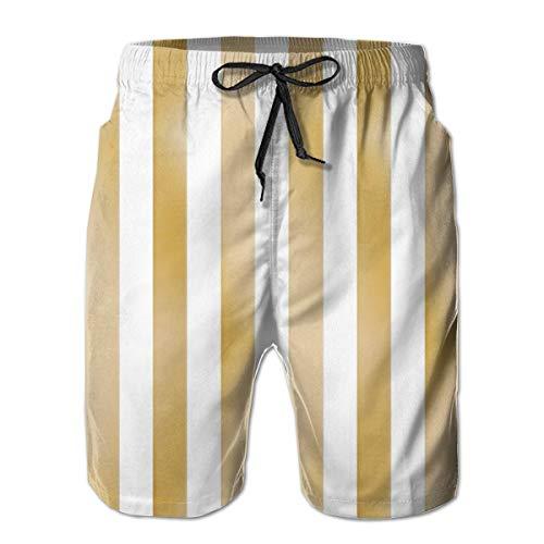 Hunter qiang Gold Dust Metallic Stripe_305Herren Sommerstrandshorts, 2XL,Bunter, langlebiger Polyester-Surf-Skate-Strand -