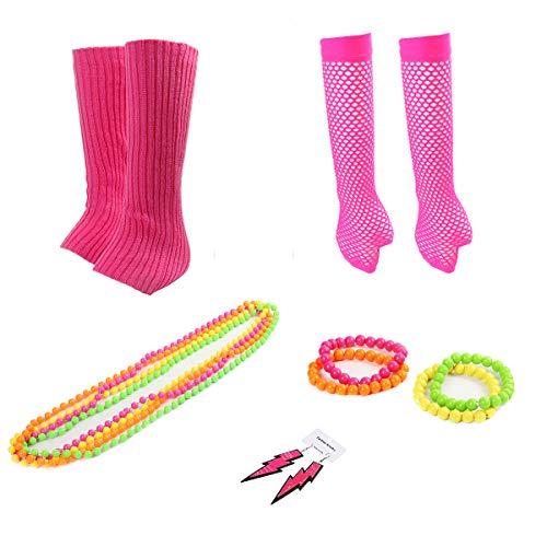 Funhoo 80er Damen Kostüm Accessoire Neon Armbänder Halsketten Ohrringe Fischernetz Handschuhe Beinwärmer Stulpen Outfit Zubehör für Party Cosplay, ()