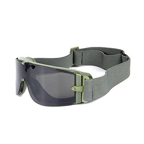 (Ballistische X800 Armee Schutzbrille 3 Lens Kit militärische Sonnenbrille Nachtsicht Anit-UV Combat war Game Augen Schilde mit Etui (armee grün))