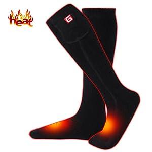 Beheizte Socken wiederaufladbare elektrische Socken Batterie mit bequemen Thermosocken, kalte Wettersocken Sport Winter Outdoor Socken für Männer Frauen 2.4V