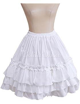 antaina Blanca Encaje Volantes Sweet Kawaii Vintage Victoriana Lolita Princesa Longitud de la Rodilla Midi Plisada...