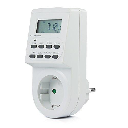 Vivanco DT1 Digitale Zeitschaltuhr mit LCD-Diplay, 8 einstellbare Schaltprogramme (Wochen- ,Tages- und Minuten-Einstellung), Durchgangssteckdose mit Kindersicherung
