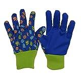 3 pares de guantes de jardinería para niños, diseño suave y cómodo, S, Blue Insects, 3