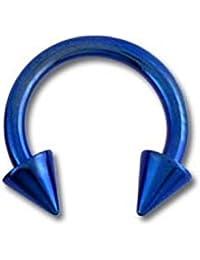 Piercing Tragus / Oreja Titanio Grado 23 Anodizado Azul Marino Dos Spikes VotrePiercing - 1.6 x 10 x 4 mm