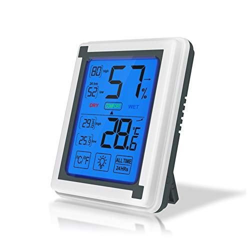 Digitales Hygrometer Wetter-Thermometer, Luftfeuchtigkeit für Innen- und Außenbereich, großer Bildschirm mit Protokollierung, Graphing, Alarmfunktion, Funkgesteuerte Uhr -