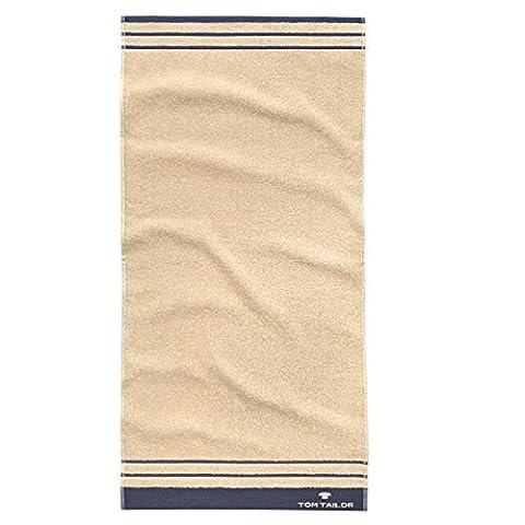 Tom Tailor Terry Hand Towel Plain with Border, off-white, 50X100 CM, 2ER SET