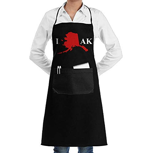 Drempad Schürzen I Love Alaska AK Adjustable Neck Bib Aprons with Front Pocket for Men Women