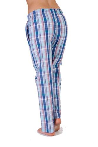Mélange de coton pour femme Style rétro Lounge Pantalon de Pyjama bustier idée cadeau Motif à carreaux 10–18 Bleu - Bleu