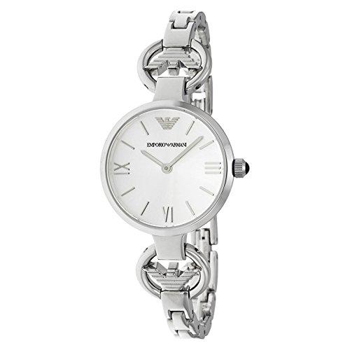 Emporio Armani AR1772mujeres de cuarzo esfera blanca reloj de acero inoxidable