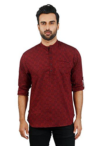 BAALI Men's Cotton Self Textured Maroon Colour Roll-Up Short Kurta  available at amazon for Rs.825