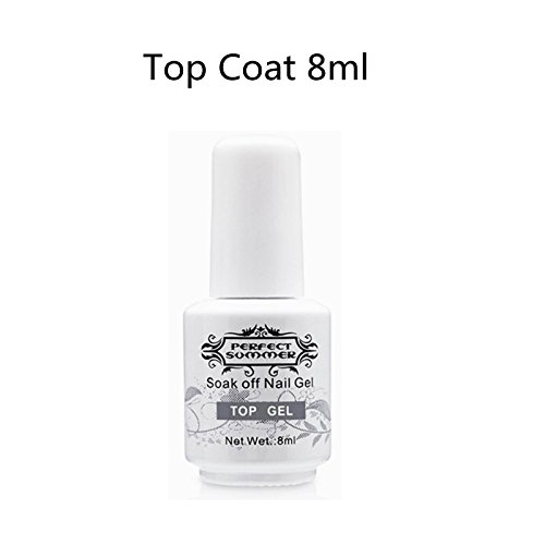 Top Coat Vernis Gel - Perfect Summer Soak Off UV LED Gel Nail Polish Finition Vernis à Ongles Semi Permanent Manucure 8ml Couleur Transparente