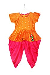 Stylish Diva Dhoti Peplum Top - Orange & Pink