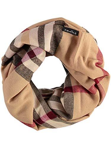 FRAAS Damen-Loop-Schal kariert - Made in Germany - stilvoller Schlauch-Schal mit Karo-Muster - leichtes Rund-Tuch - karierter Snood-Schal, Camel, Einheitsgröße