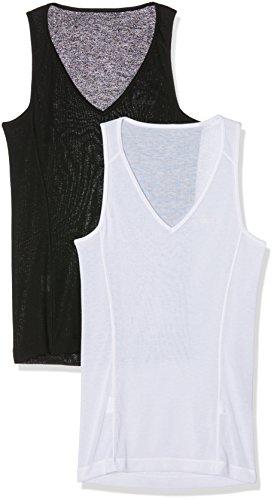 Odlo Damen Singlet v-Neck Light 2 Pack Unterhemd, Black-White, S Preisvergleich