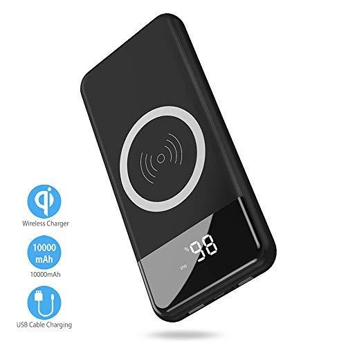 Wireless Power Bank,2 in 1 Kabellos Qi-Ladegerät und 10000mAh Powerbank für Samsung Galaxy Note 8/S8/S8 Plus/iPhone 8/8 Plus/X und alle Qi-fähigen Geräte Andere Micro-USB-Geräte (Schwarz)