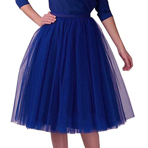 Andouy Damen Tutu Midi Rock Tüll Petticoat Vintage Mesh Plissee Dance Organza Dress-up Prinzessin Größe 36-48(36-48,Dunkelblau)