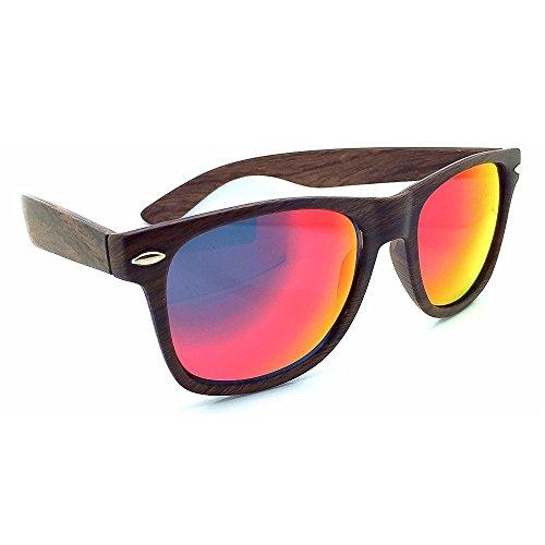Sonnenbrille KISS ® Holz-Holz-Effekt gespiegelt Wayfarer Line-Männchen weibliche Feuer VINTAGE unisex - LIGHT WOOD / Rot HfrWv2UT
