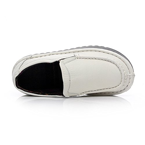 Shenn Donna Piattaforma Scivolare Su Comfort Casuale Pelle Sneaker Scarpe 2601 Bianca