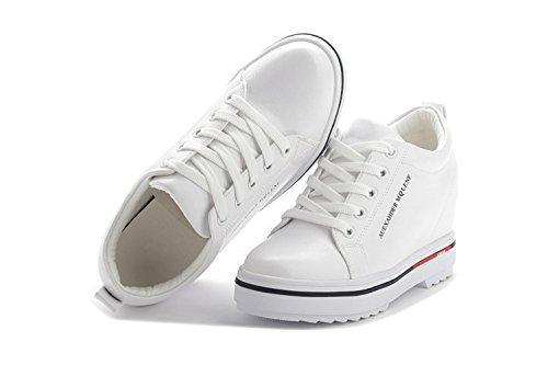 Damen Lässige Runde Zehen Schnürsenkel Flache Retro Stil Innen Aufzug Dicke Sohle Aufzug Sneakers Weiß