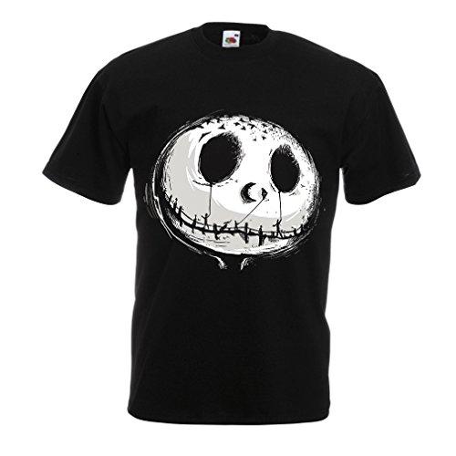 Männer T-Shirt beängstigend Schädel Gesicht - Alptraum - Halloween-Party-Kleidung (Large Schwarz Mehrfarben)
