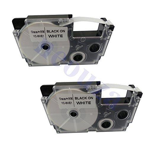 neouza 2Stück kompatibel für Casio ez-label Tape 9mm x 8m 0,9cm X 26'Label IT. XR-9WE2S Black on White (Ez Tape)