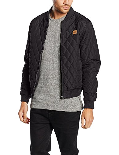 Urban Classics TB862 Herren Steppjacke - Diamond Quilt Nylon Jacke - Ideal als Übergangsjacke, Schwarz (black 7), Gr. Medium