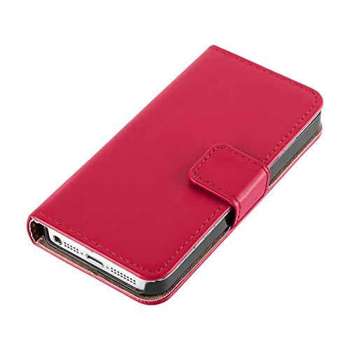 HANDYPELLE® Tasche für Apple iPhone SE / 5 / 5s im Bookstyle in Schwarz Rot