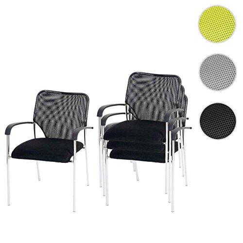 4x Besucherstuhl Tulsa, Konferenzstuhl stapelbar, Textil ~ Sitz schwarz, Rückenfläche schwarz