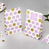 Papiertüten Punkte lila gold 20 x 12 x 6 cm 5 Stück - Geschenktüten Hochzeit Candy Bags Kindergeburtstag Mitgebsel Kinderparty Paper Bags Candy Bar Bonbontüten Süßigkeiten-Tüten Dots lila gold