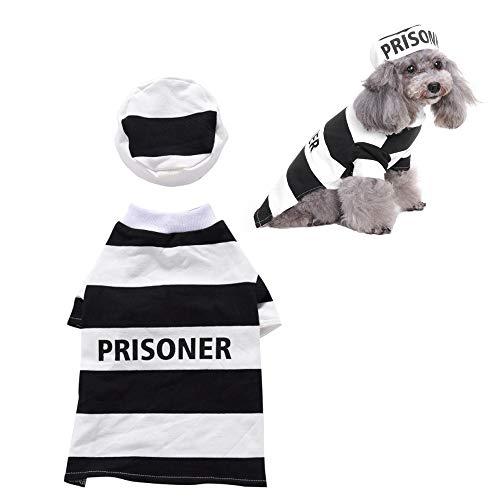 JLCYYSS Gefängnis Hund Haustier Kostüm Gefängnis Hündchen Kostüm Für Hunde Streifen Shirt Halloween Kostüm,M