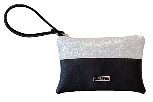 Borsa Donna, Pikla Flat Purse (Portamonete piatto) con manico in morbido e fascia in Rulex. Chiusura con cerniera. Fodera interna. Made in Italy. Nero
