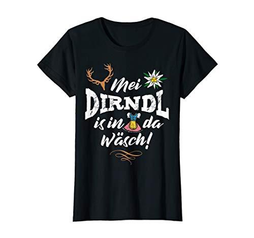 Mei Dirndl is in da Wäsch mit Edelweiß & Hirsch Damen Lustig T-Shirt