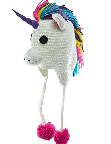 Hosaire-1x-Blanc-bande-dessine-garons-et-filles-licorne-main-Beanie-hiver-chaud-chapeaux-oreille-bonnet