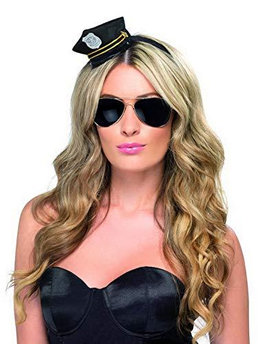 �m Accessoires Zubehör Damen Polizei Mini Hut Polizistinnen Kappe mit Abzeichen, perfekt für Karneval, Fasching und Fastnacht, Schwarz ()