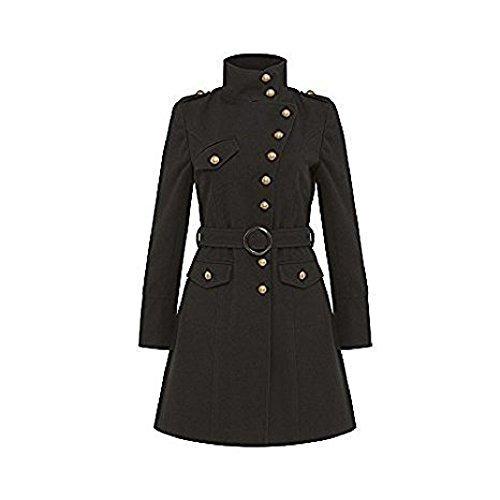 La Crema - Mujer Militar Tacto Lana Chaqueta De Chicas embudo de cuello Detalle De Botón Abrigos Con Cinturón Abrigo De Invierno - Negro, UK 10/EU 36/US 8