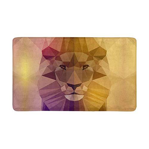 Soefipok Gesicht eines Löwentieres in den geometrischen Dreieck-Formen Fußmatte rutschfestes Innen- / Boden-Fußmatten-Ausgangsdekor im Freien, Eingangs-Teppich-Gummi-Schutzträger
