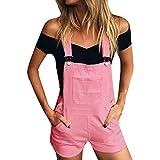 Xmiral Damen Shorts Jumpsuit Baumwolle Lose Denim Latzhose Overalls Jeans Denim (XL,Rosa)