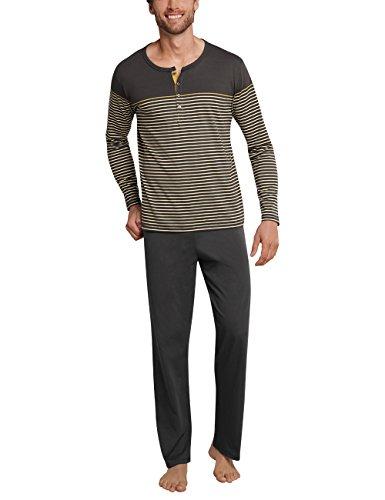 Schiesser Herren Zweiteiliger Schlafanzug Anzug lang m. Knopfleiste 159207, Gr. XX-Large (Herstellergröße: 056), Braun (Gold 306) (Herren-pyjama Braun)