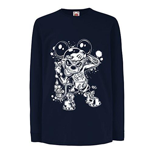 lepni.me Kinder-T-Shirt mit Langen Ärmeln Eine Maus mit Einem tollen Halloween-Party-Kostüm (7-8 Years Blau Mehrfarben)