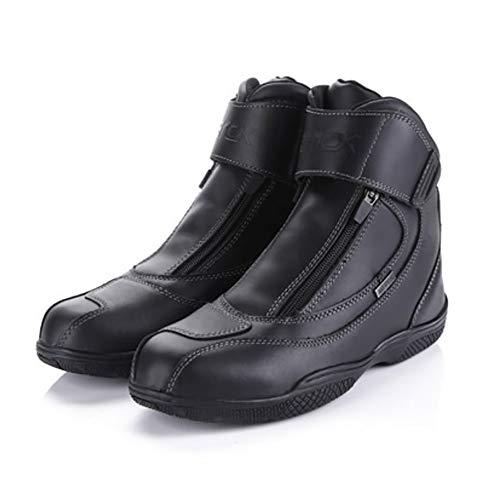 Scarpe da Moto Vera Pelle Impermeabile Stivali da Equitazione Slittata Scarpe Basse Nude Velcro + Cerniera Scarpe da Corsa Riflessivo Sportivo Sci di Fondo Scarpa,Black-UK5.5/EUP39.5