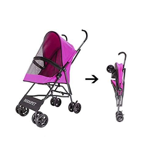 Pet stroller Kinderwagen für Hundeträger, Trolley, Anhänger, Innopet, Stylish, Portable, Lightweight Buggy Retro Faltbarer Buggy, Kinderwagen, Kinderwagen für Hunde und Katzen (Color : Pink)