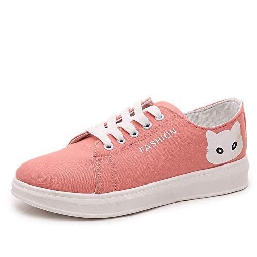 AVBGT Segeltuch-Schuhe Kleine weiße Segeltuch-Schuhe Harajuku-Schuhe Kursteilnehmer flach, rosa (Farbe), vierzig
