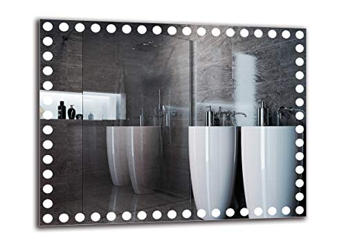 Espejo LED Premium - Dimensiones del Espejo 90x70 cm - Espejo de baño con iluminación LED - Espejo...