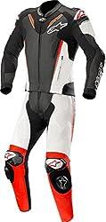Alpinestars Atem V3 Motorrad Lederkombi Zweiteilig, schwarz-weiß-fluorot, 52